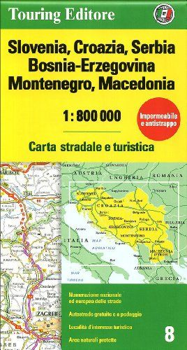 Cartina Stradale Slovenia Pdf.Slovenia Croazia Serbia Bosnia Erzegovina Montenegro Macedonia 1 800 000 Carta Stradale E Turi Macedonia Montenegro Serbia