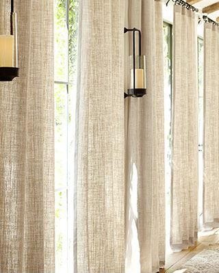 Sheer linen curtains,I would love something like this in my bedroom ...