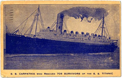 Postcard publishers wanting to capitalize on the market for Titanic disaster postcards were panicked by the news that the Cunard Line's RMS Carpathia had rescued Titanic's survivors. Because Carpathia was neither large, nor fast, nor elegant, few photographers had bothered to capture her image. Here an unknown publisher has resorted to altering a photograph of RMS Mauretania, fastest ship on the Atlantic. The postcard was mailed in New York on May 8, 1912.