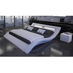 Lit Design Blanc 200x200 Cm Lumineux En Similicuir Ozark Gdegdesign En 2020 Lit Design Lit Cuir Lit