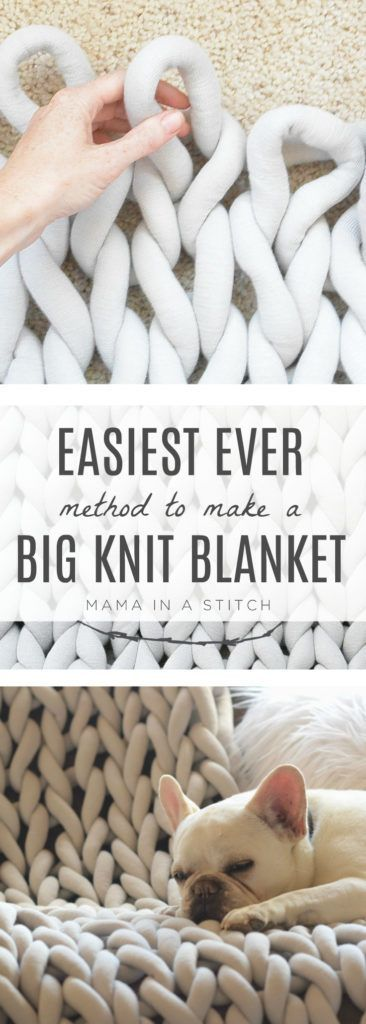 Such an easy way to make a big knit blanket without having to arm knit or needle knit! Perfect for beginner knitters or those of us who have never knit before.  Tutorial and pattern includes a video to walk you through it! #extremeknitting #bigknits #bigknitblanket via @MamaInAStitch
