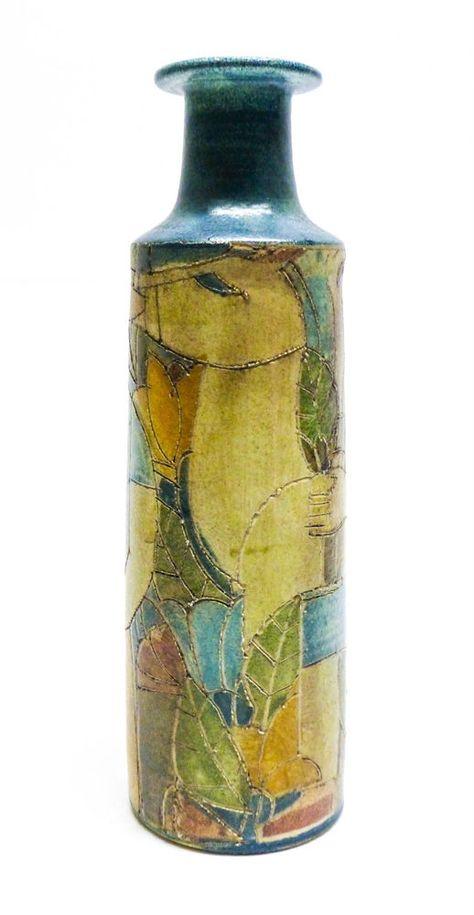 Theo & Susan Harlander Studio Pottery Sgraffito Vase with Figures - Brooklin