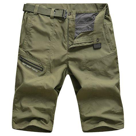 AFSJEEP Zipper Pocket Cargo Shorts Mens Fashion Casual Pants Plus Size
