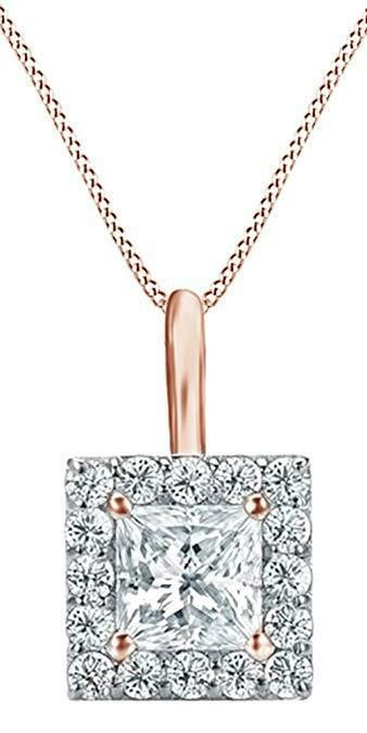 """1 Ct Princess Cut 14K Yellow Gold Solitaire Pendant Necklace Box With 16/"""" Chain"""