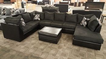 Large 3pc Sectional Sofa W Chaise In Black In 2020 Large