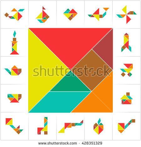 photograph regarding Printable Tangram Pieces called Tangram fixed, slash engage in. Selection of printable tangram