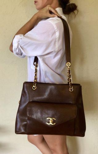 Vintage Chanel Brown Caviar Leather Shoulder Chain Purse Flap Bag Women Handbags Chanel Handbags Shoulder Bag Women