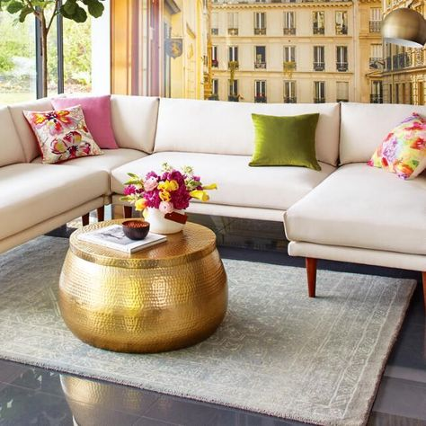 Gold Hammered Metal Cala Coffee Table V7