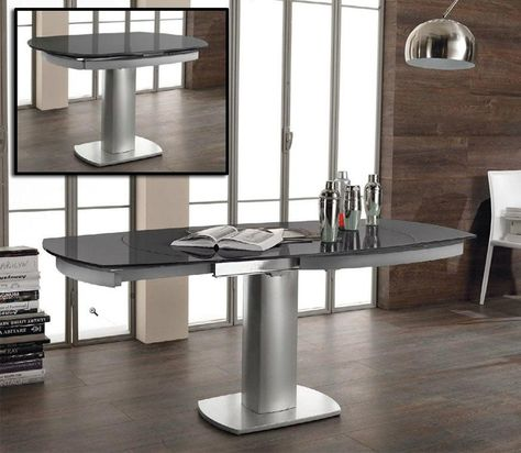 Dimensions Dining Table W71 47 X D35 H30 10mm Gray Painted Tempered Gl Top Extendable Nickle Powder Coated Metal Base Some Embly Required