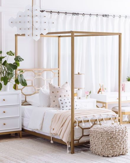 Contemporary Youth Twin Canopy Bed In Gold With Images Girls Bed Canopy Girls Bedroom Canopy Contemporary Canopy Beds