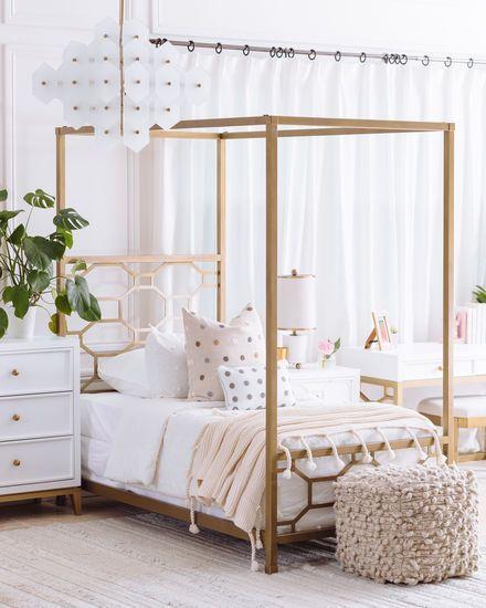 Contemporary Youth Canopy Bed In Gold Cama De Menina Com Dossel Cama Com Dossel Decoracao Quarto Menina