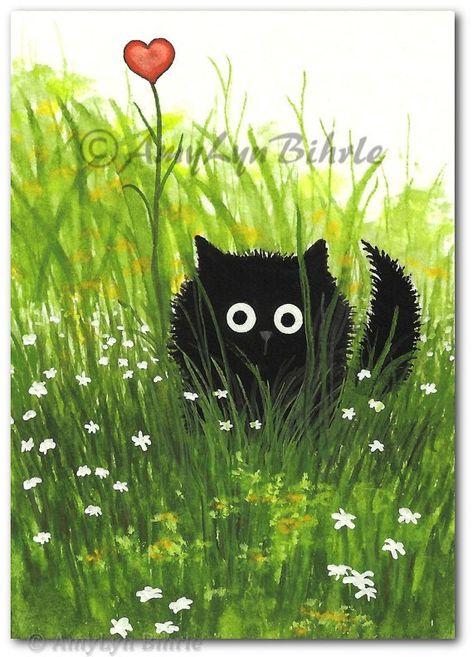 Black Fuzzy Cat One Love Art Print by Bihrle ck363 | Etsy