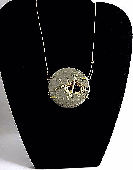 This article is not available - Collier pendentif and béton bijou contemporain Disque -