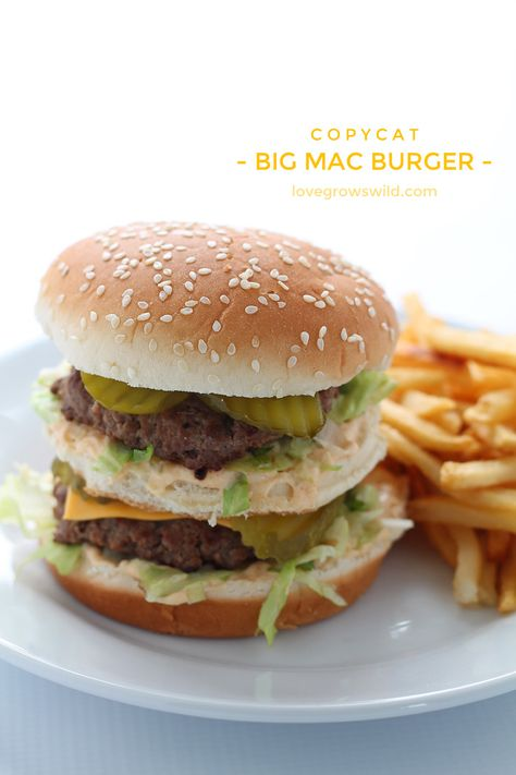 This copycat recipe makes the perfect Big Mac Burger! Extra meaty and loaded with a homemade special sauce! | LoveGrowsWild.com