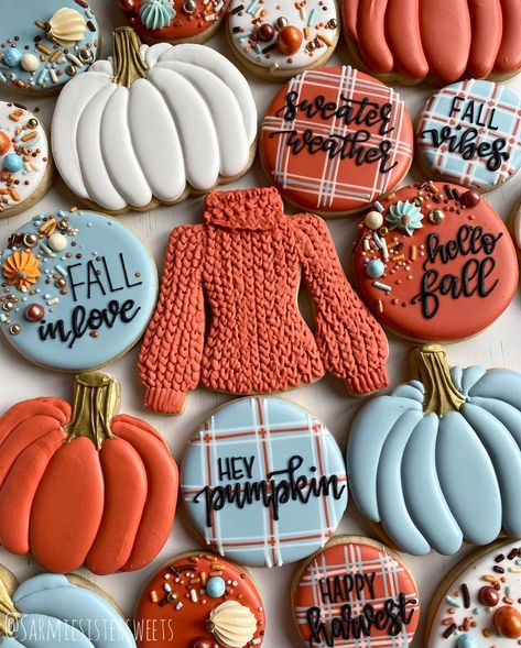 """Priscilla and Angela on Instagram: """"I loved them so much I made them again ❤️ this time with a burnt orange sweater! . So in love with the Pumpkin carriage sprinkle mix from…"""" Fall Decorated Cookies, Fall Cookies, Cut Out Cookies, Iced Cookies, Cute Cookies, Easter Cookies, Cupcake Cookies, Sugar Cookies, Cupcakes"""