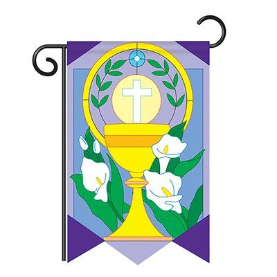 Breeze Decor Cup And Cross Applique Decorative 2 Sided Polyester 1 5 X 1 1 Ft Garden Flag In 2020 Breeze Decor Cross Applique Outdoor Holiday Decor