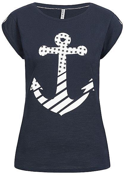 Seventyseven Lifestyle Damen T Shirt Anker Print navy blau