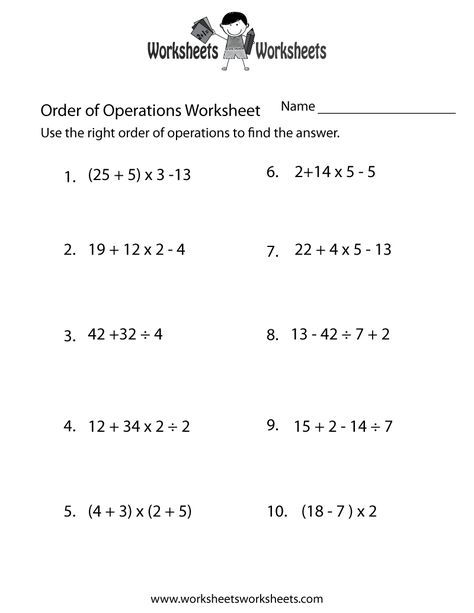 Order Of Operations Worksheet Order Of Operations Worksheets Printable Pemdas Worksheets 7th Grade Math Worksheets Printable Math Worksheets