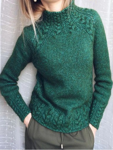 Deep Green Vintage Turtleneck Sweaters - JustFashionNow.com