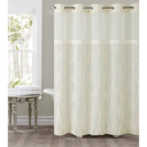 Hookless Palm Leaves Shower Curtain With Snap On Liner Ivory
