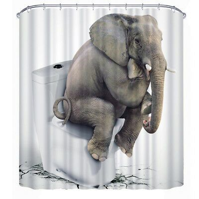 Advertisement 3d Elephant Printed Polyester Waterproof Toilet