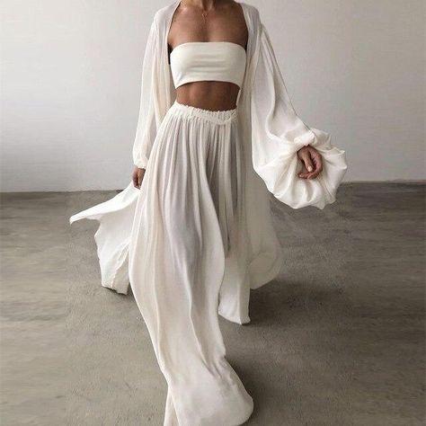 2021 Fashion Solid Loose Outfits Women Casual 3 Piece Set Elegant Lantern Sleeve Cardigan Tops+Wide Leg Pant Spring Homewear 2XL - White / L