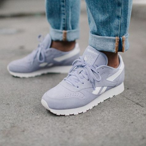 Reebok Classic Lilac Leather Trainers | Adidas shoes women
