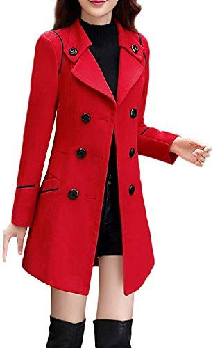 Womens Double Breasted Pea Coat Winter Lapel Wool Trench Jacket Slim Long Solid Parka Outwear Windbreak Plus Size