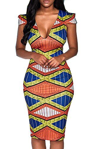 SALE PRICE - $18.09 - Hang Zhou Tui Zhen LTD YOMISOY Women Short Sleeve V Neck Bodycon African Print Party Dashiki Dress Clothing