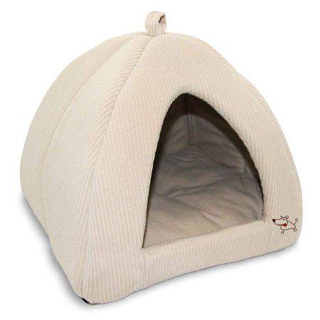 Best Pet Supplies Corduroy Tent Bed For Pets Beige Medium Walmart Com In 2021 Cat Tent Pet Beds Cat Bed