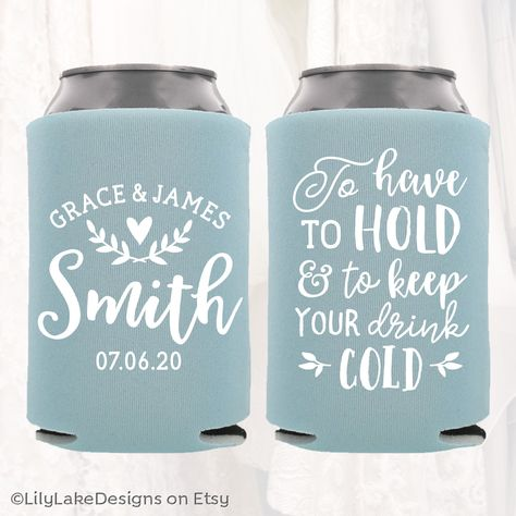 "Personalized Wedding Favors | To Have To Hold and To Keep Your Drink Cold | Customized Wedding Can Coolers | Beverage Insulators Beer Hugger #personalizedweddingfavors Personalized can coolers make an awesome favor that your guests can use and enjoy for years to come. They are fun, affordable, and will make your day even more special and memorable!  •✧◀︎ HOW TO PLACE AN ORDER ▶︎✧• |  Step 1  |  Select the can cooler quantity needed from the ""Quantity / Price"" drop down menu"
