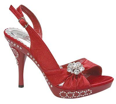 High Heel Rhinestone Red Wedding Sandals with slingback strap. Besides wedding, it is suitable for all kind of special occasions. Available in various sizes.