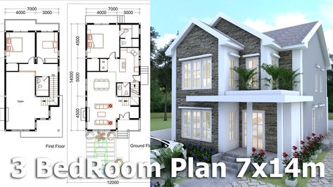 3 bedrooms home plan 7x14m   rumah dan dekorasi