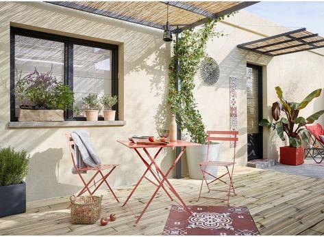 Table De Jardin De Repas Naterial Flora Origami Carrée