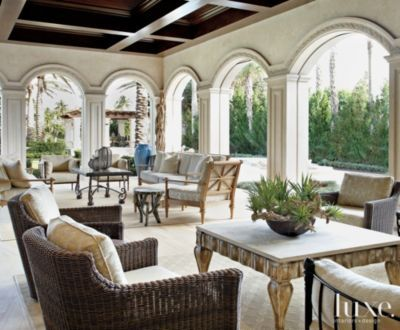 A classic #BocaRaton estate's neutral #Mediterranean loggia. | See MORE at www.luxesource.com. | #luxemag #interiordesign #design #interiors #homedecor
