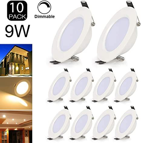 Pack Of 10 3inch Led Recessed Light Dimmable Ultra Thin 9w Led Ceiling Light With Led Driver 700lm Warm Whi In 2020 Led Ceiling Lights Recessed Lighting Led Ceiling
