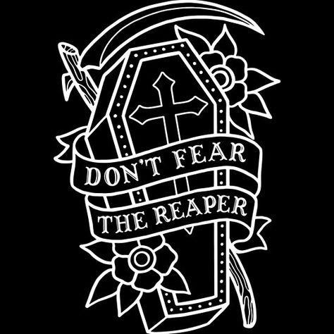 Don't Fear the Reaper Hoody by Deniart - Unisex Pullover Black - MEDIUM - Front Print - Pullover Don't Fear The Reaper, Tattoo Old School, 1 Tattoo, Tattoo Drawings, Tatuaje Harley Quinn, Reaper Drawing, Coffin Tattoo, Grim Reaper Tattoo, Tattoo Zeichnungen