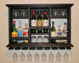 Mini Bar Black Stain Wine Rack 3 X2 Liquor Cabinet Minimalist