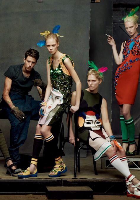 """Miles Langford, Lexi Boling, Iselin Steiro, & Ashleigh Good (in Prada) in """"The Collections"""" for Vogue Italia January 2014"""