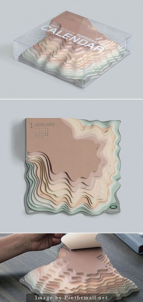 Topographic Desktop Calendar Just when you think you've seen just about everything that can be done with a calendar, the TBWA Istanbul agency comes up with this intriguing topographic map for Land Rover. http://www.paperspecs.com/topographic-desktop-calendar/ - created via http://pinthemall.net