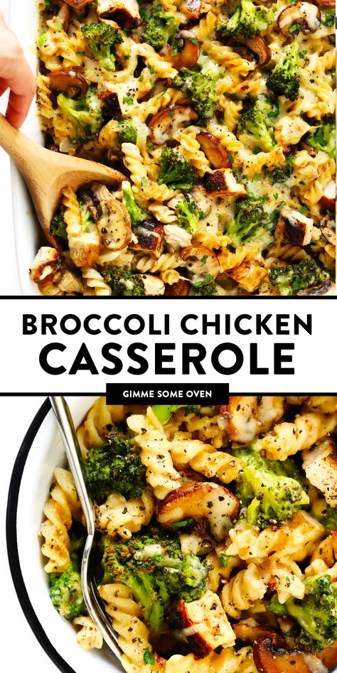 This healthier Broccoli Chicken Casserole recipe is made with your choice of pasta, tender chicken and broccoli, and the most delicious creamy cheddar mushroom sauce. It's modern comfort food at its best! | gimmesomeoven.com #chicken #casserole #dinner #comfortfood #healthy #glutenfree #mealprep #pasta #chickenandbroccoli