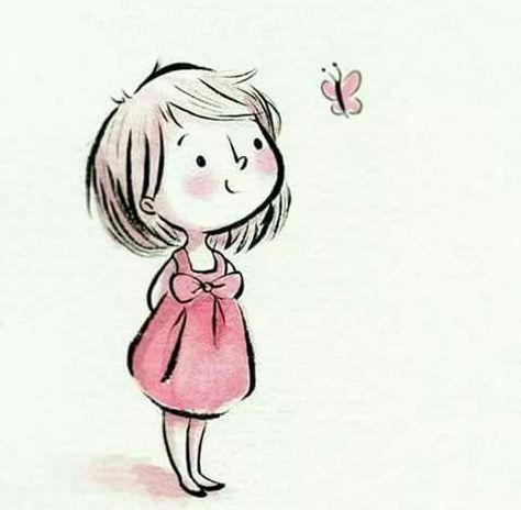 Mädchen mit Schmetterling -   #