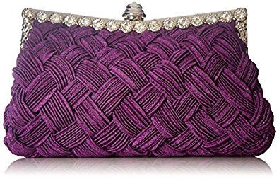 Chicastic Pleated and Braided Rhinestone studded Wedding Evening Bridal Bridesmaid Clutch Purse - Purple: Handbags: Amazon.com