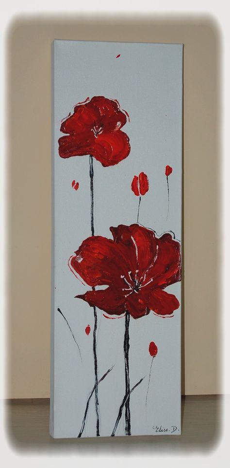 Tableau Peinture Fleur De Coquelicot Rouge Abstrait