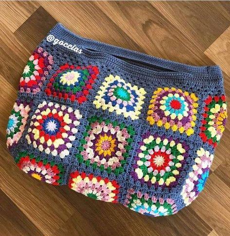 Crochet gypsy granny square tote bag crochet purse woman | Etsy Diy Crochet And Knitting, Crochet Videos, Cute Crochet, Crochet Baby, Crochet Mandala Pattern, Crochet Patterns, Hello Kitty Crochet, Yarn Bag, Fabric Bags