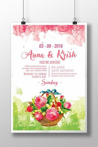 Watercolor Wedding With Flower Basket Invitation Poster Wedding