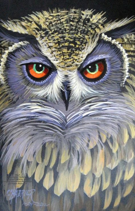 X portrait of an Owl painted in watercolor on black paper. Why, have you awakened me, and what is so important it can& wait for later?