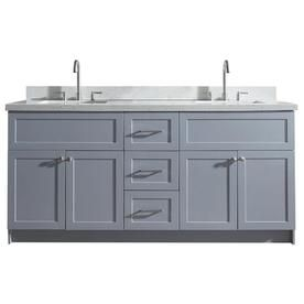 Ariel Hamlet 73 In Gray Double Sink Bathroom Vanity With White Quartz Top F073d Wq Vo Gry Painted Vanity Bathroom Black Bathroom Decor Vanity