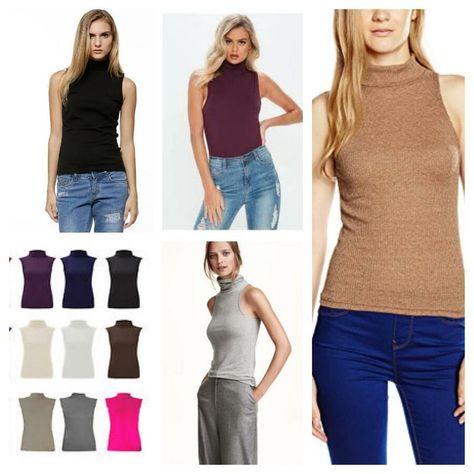 4d054fce2e3be Ladies Polo Neck sleeveless Top Women High Neck Sleeveless t-Shirt Plus Size  sleeveless Top Neck