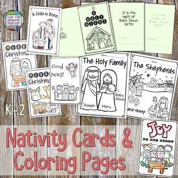 Nativity Christmas Cards And Coloring Printables Kindergarten Nativity Christmas Primary Nativity Christmas Cards Christmas Card Template Christmas Cards